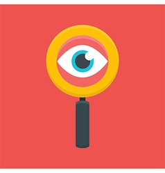 Search magnifying glass with eye vector