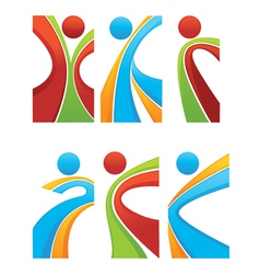 Active and sportive abstract people vector