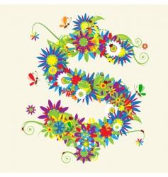 Dollar sign floral design vector