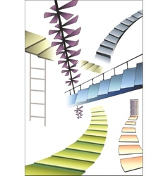 Many different multicolored stairs right way vector