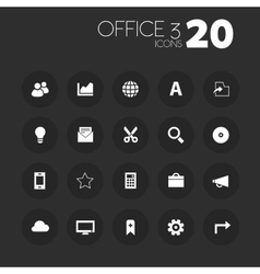 Thin office 3 icons on dark gray vector