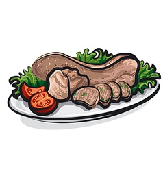 Veal tongue meat vector