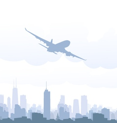 Airplane and cityscape vector