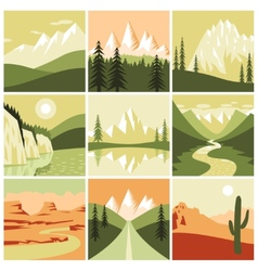 Nature mountain icons vector