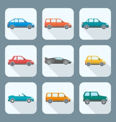 Colored flat style various body types of cars vector