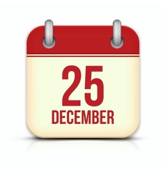 Christmas day calendar icon 25 december vector