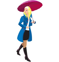 Beautiful blond girl with umbrella vector