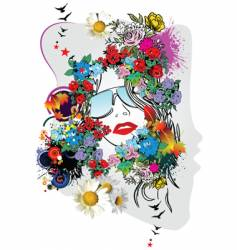 Floral woman's face vector
