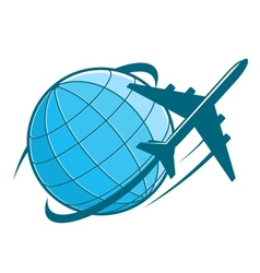 Fast airplane flying around earth vector