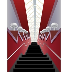 Red interior corridor with black stairs and lamps vector
