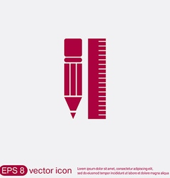 Ruler and pencil characters geometry vector