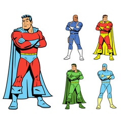 Classic superhero and cool variations image set vector