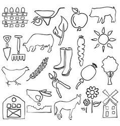 Farm sketch images vector