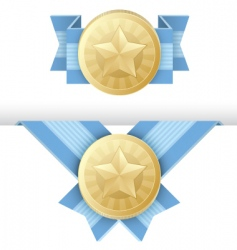 Gold medal award certificate vector