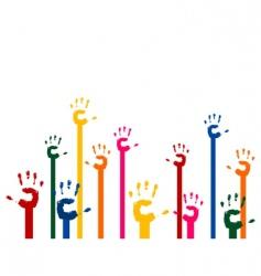Hands upwards vector