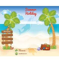 Beach background with palms vector