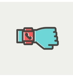 Smart watch thin line icon vector