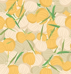 Onion pattern seamless background with bulbs vector