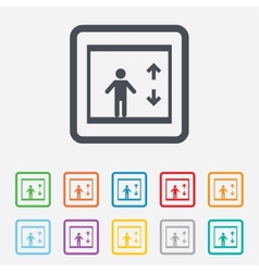 Elevator icon person symbol with up down arrows vector