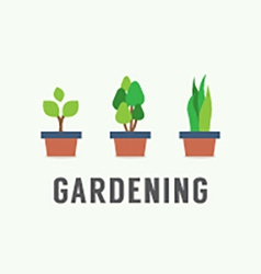 Pot plants gardening concept vector