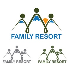 Family resort emblem with mountains and sun vector