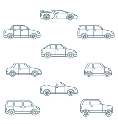 Dark outline various body types of cars icons vector