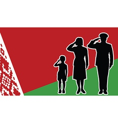 Belarus soldier family salute vector