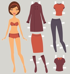 Paper doll autumn vector