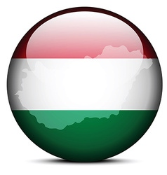 Map on flag button of hungary vector