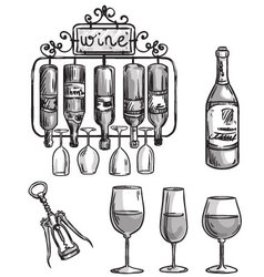 Iron cast wine holder vector