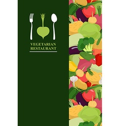 Vegetarian menu cover for restaurant or cafe bunch vector