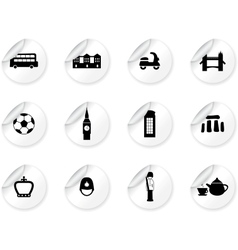 Stickers with english culture icons vector