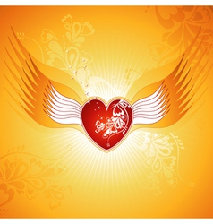 Lovely red heart on golden background with wings vector