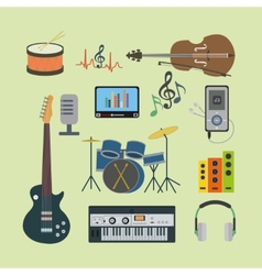Flat icons music set vector