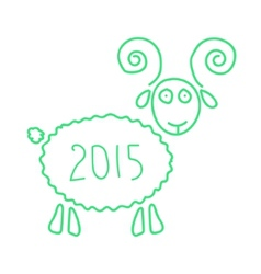 Green wooden sheep like symbol of 2015 year vector