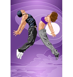 Young dancers couple vector