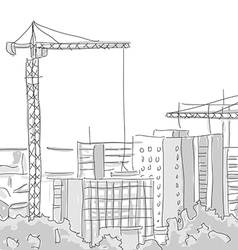 Building construction tower crane draw graphic vector