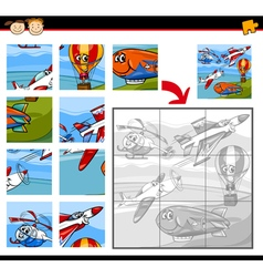 Cartoon aircraft jigsaw puzzle game vector