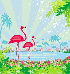With green palms and pink flamingo vector