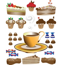 Coffee with dessert vector