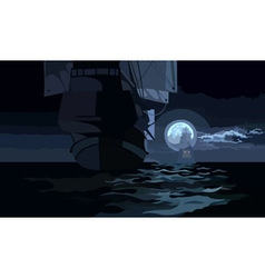 Ship with sails on a moonlit night on the sea vector