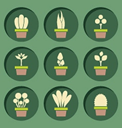 Set of pot plants symbol vector