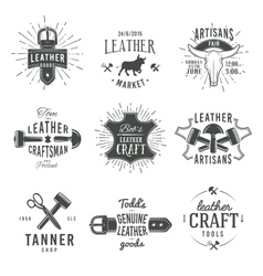 Second set of grey vintage craftsman logo vector