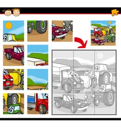 Cartoon vehicles jigsaw puzzle game vector