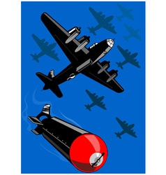 World war two bomber airplanes drop bomb retro vector