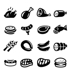Meat and sausage icons vector