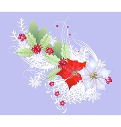 Christmas branch with snowflakes and berry vector