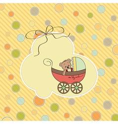 Funny teddy bear in stroller vector