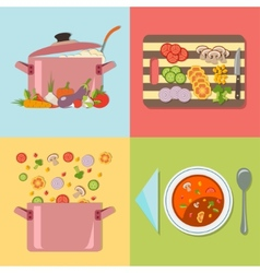 Cooking four stages of preparing vegetable soup vector