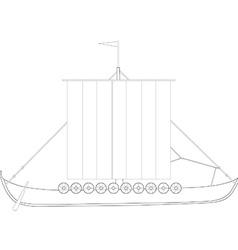 Drakkar outline drawings vector